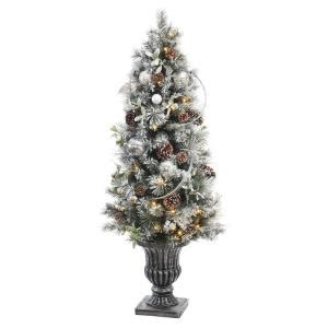 5 ft battery operated snowy silver pine potted artificial tree with 50 clear led - Battery Operated Christmas Trees With Lights