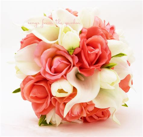 Coral Real Touch Roses With Real Touch White Calla Lilies