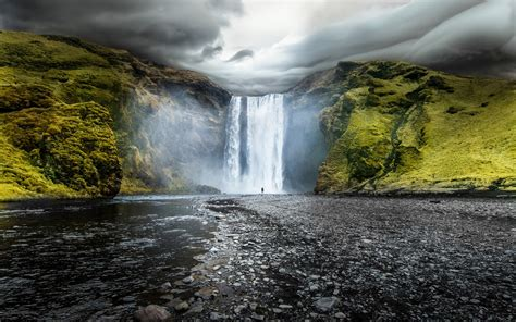 skogafoss waterfalls iceland wallpapers hd wallpapers id