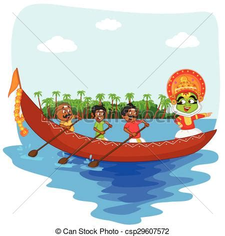 Onam Boat Icon by Vectors Illustration Of Kathakali Dancer Doing Boat Race