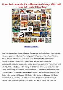 Lionel Train Manuals Parts Manuals Catalogs 1 By