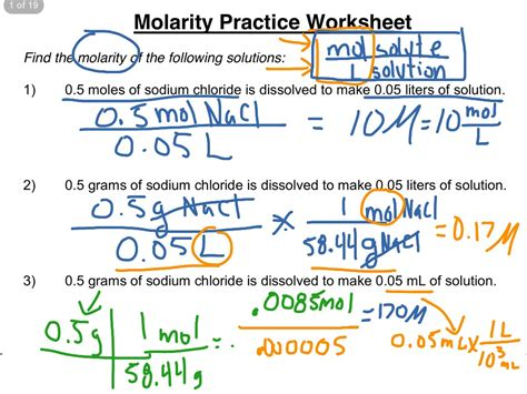 molarity practice worksheet 1 3 science chemistry