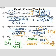 Molarity Practice Worksheet 13  Science, Chemistry, Solutions Chemistry Showme