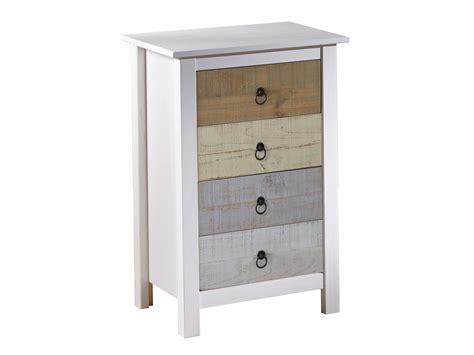 meuble de bureau pas cher chiffonnier en bois massif avec 4 tiroirs hauteur 80 cm flora