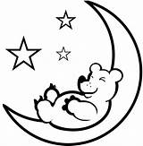 Moon Coloring Printable Sheet Crescent Stars Sleeping Clipart Bear Drawings 574px 21kb Space sketch template