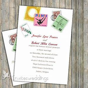 Love postage stamps wedding invitation iwi048 wedding for Stamps for wedding invitations canada