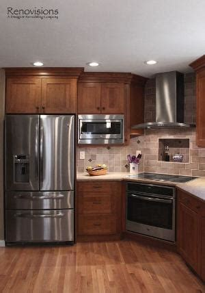 kitchen picture tiles cherry cabinets stainless steel appliances hardwood 2436