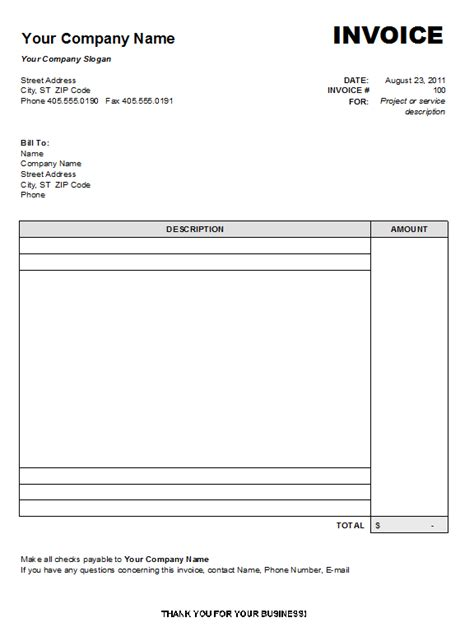 blank invoice form blank invoice template