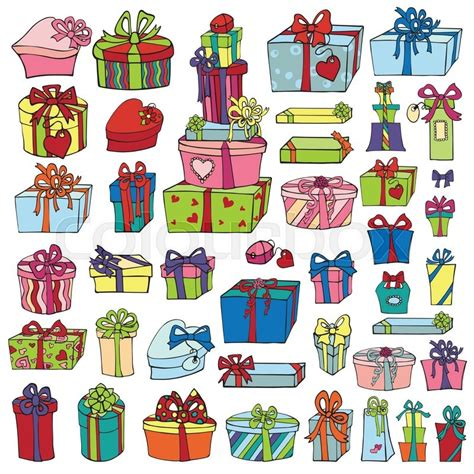 gift boxespresents setcolored holiday doodle isolated