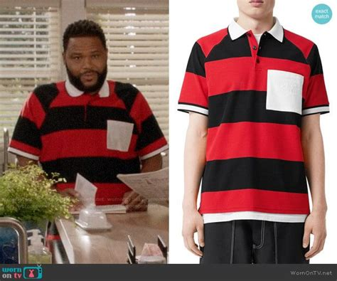 Andre's red striped polo shirt with white pocket on Black ...