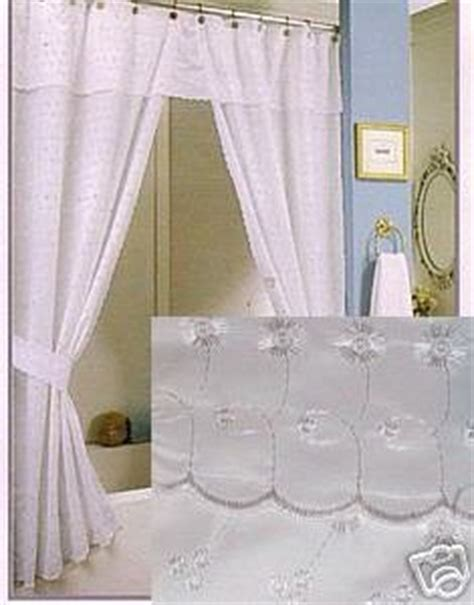 eyelet fabric shower curtain cool white