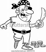 Cartoon Pirate Peg Leg Coloring Sword Holding Smiling Clip Talking Phone Shutterstock Fotosearch sketch template