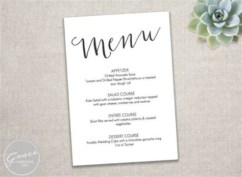event menu templates