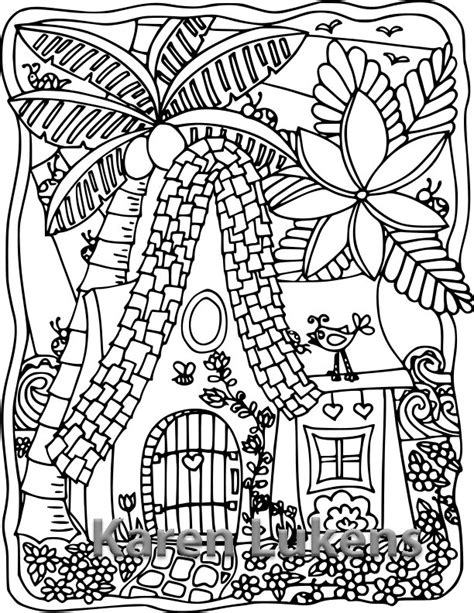 Happy Island Cottage 1 Adult Coloring Book Page Printable