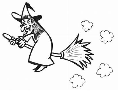 Witch Drawing Draw Halloween Cartoon Witches Flying