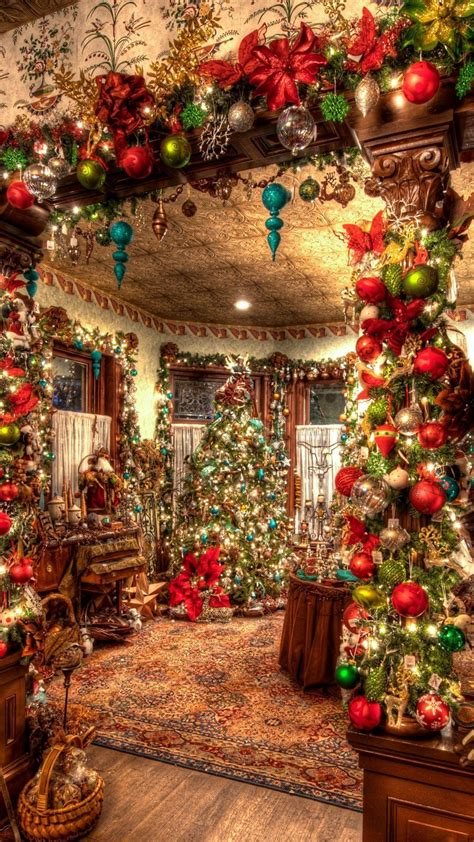 christmas decorations big room tree android wallpaper free download