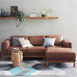 dekalb leather 2 piece chaise sectional west elm With west elm sectional sofa leather