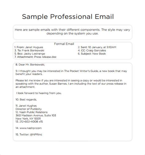 professional email format 8 sle professional email templates pdf sle