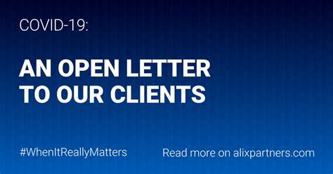 covid  letter   clients alixpartners