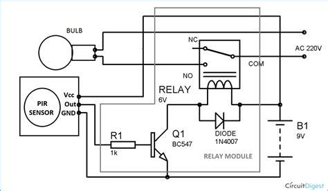 automatic room light control upon human presence automatic room lights using pir sensor and relay circuit
