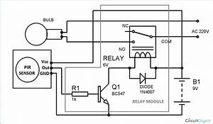 Automatic Room Lights Using Pir Sensor And Relay  Circuit Diagram