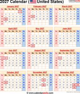 2027 calendar for the usa with us federal holidays