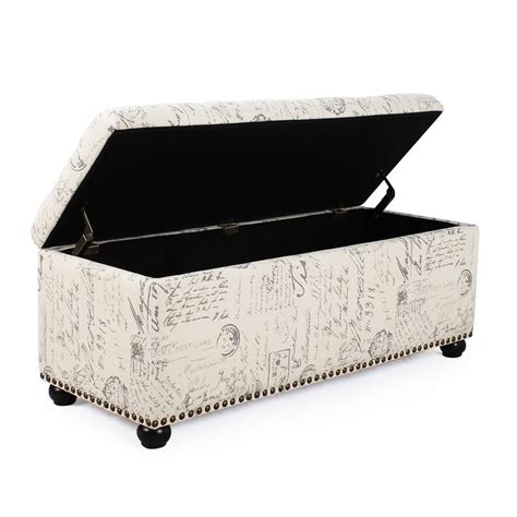 fabric storage ottoman adeco white linen fabric storage ottoman bench ft0042