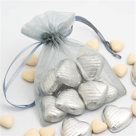silver organza bags  favour