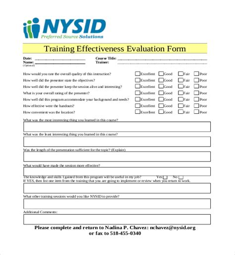 19+ Sample Training Evaluation Forms  Sample Forms