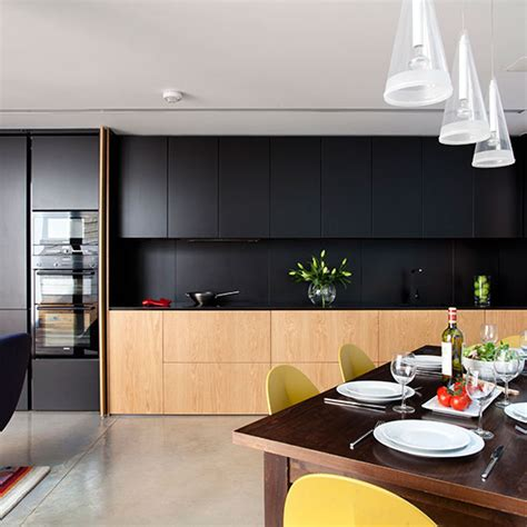 ultra modern  sleek black  wood kitchens
