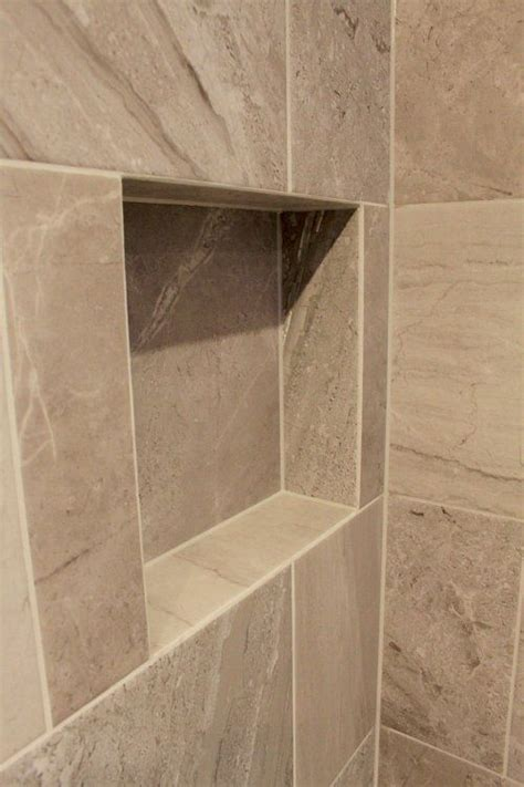 mitred tile edges   recessed shelf
