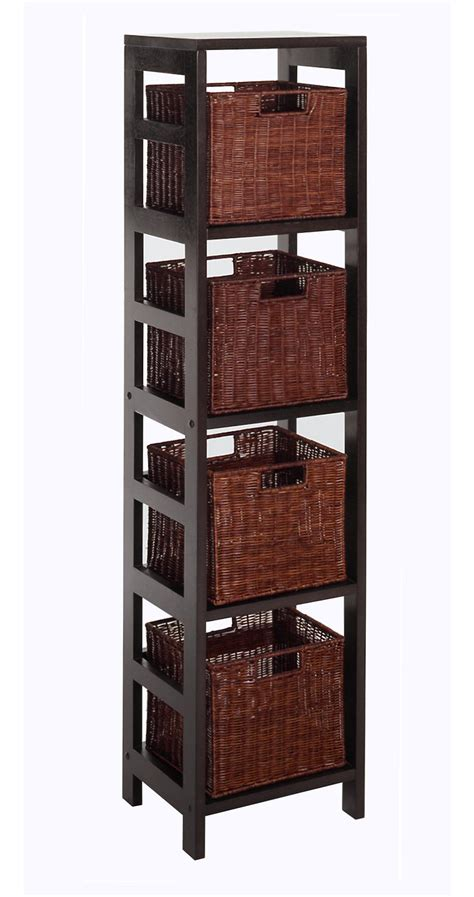 storage bookcase with baskets leo 5pc storage shelf with basket set shelf with 4 small