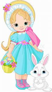 Girl with Easter rabbit | Stock Vector | Colourbox