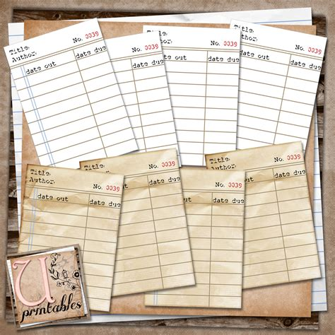 rebeccab designs  printable journaling library cards