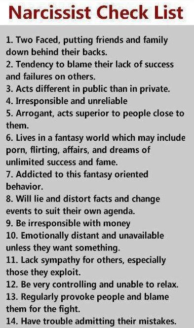 tale  signs   narcissistic personality  evil