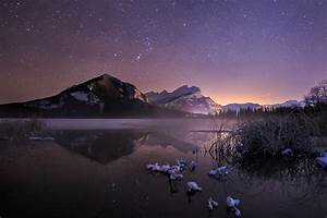 Nature, Landscape, Cold, Winter, Starry, Night, Frost, Lake
