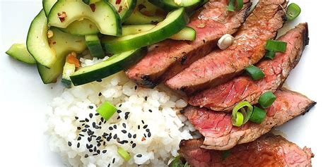 Best Korean-style Grilled Flank Steak With Sticky Rice And