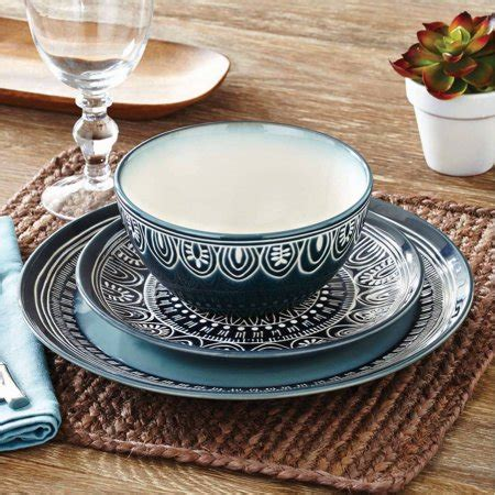 Better Homes And Garden Dishes by Better Homes And Gardens Teal Medallion 12