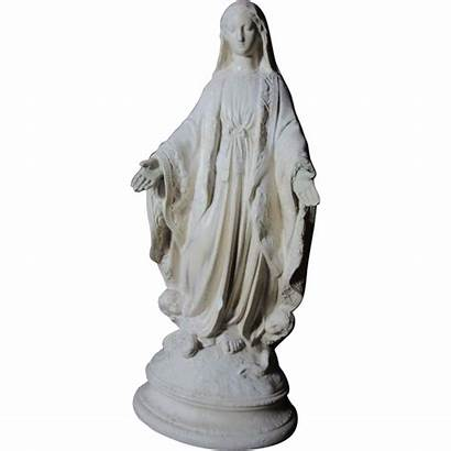 Statue Mary Virgin Pipe French Clay Ruby