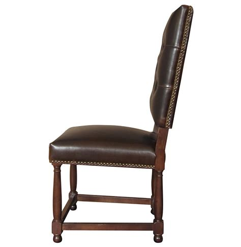 charles country brown leather high back dining room