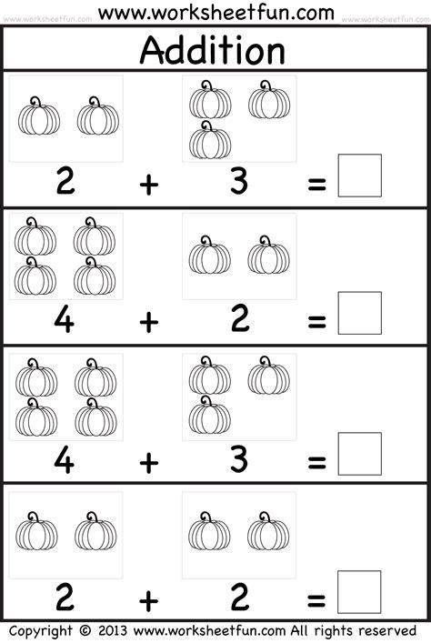 pumpkin picture addition kindergarten addition worksheet