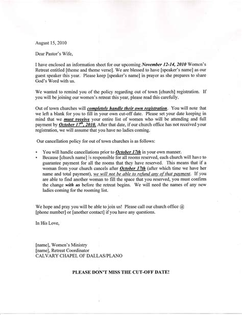 acts retreat letters sle how to write a retreat letter images letter format
