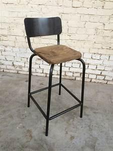 Tabouret Haut En Bois : tabouret haut thcd 39 tabh006 giani desmet meubles indus bois m tal et cuir ~ Teatrodelosmanantiales.com Idées de Décoration