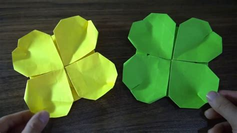 Origami Four leaf clover || Origami easy in the summer for children - YouTube