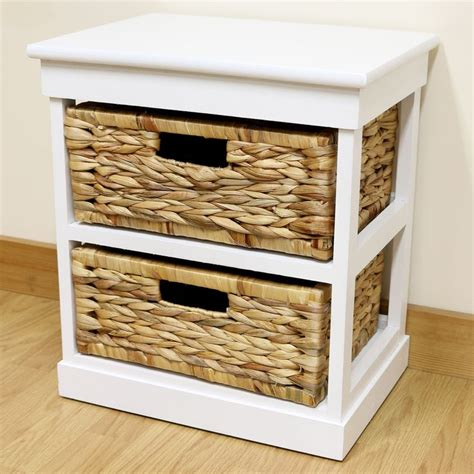 white bedside white 2 drawer basket bedside cabinet home storage unit