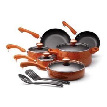 paula deen orange signature porcelain nonstick  piece cookware set cookware sets  hayneedle