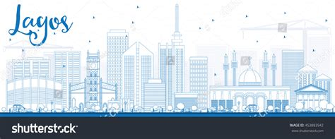 Outline Lagos Skyline Blue Buildings Vector Stock Vector Best Business Cards For Car Salesman Ceramic Artists Simple Catering Glass Artist Black Remax Templates Psd Plastic Blank