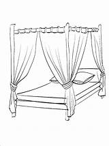 Bed Coloring Pages Canopy Para Cama Bedroom Colorir Colouring Printable Drawing Furniture Dossel Print Bedtime Desenhos Imprimir Getcolorings Getdrawings Imagem sketch template