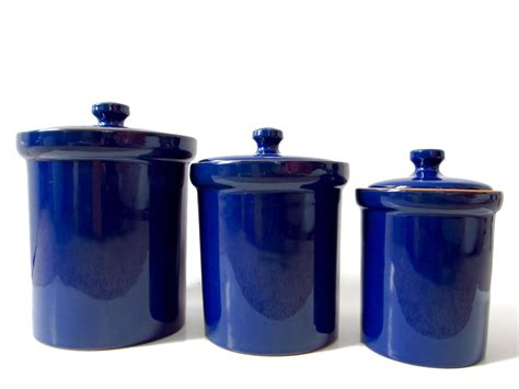 Cobalt Blue Ceramic Canister Set Made In Italy Italian