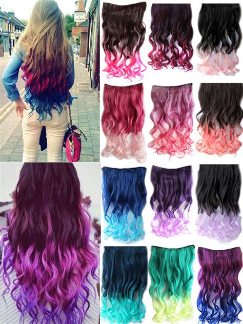 Women Lady Wavy One Piece Hair Extensions Long Curly Dip